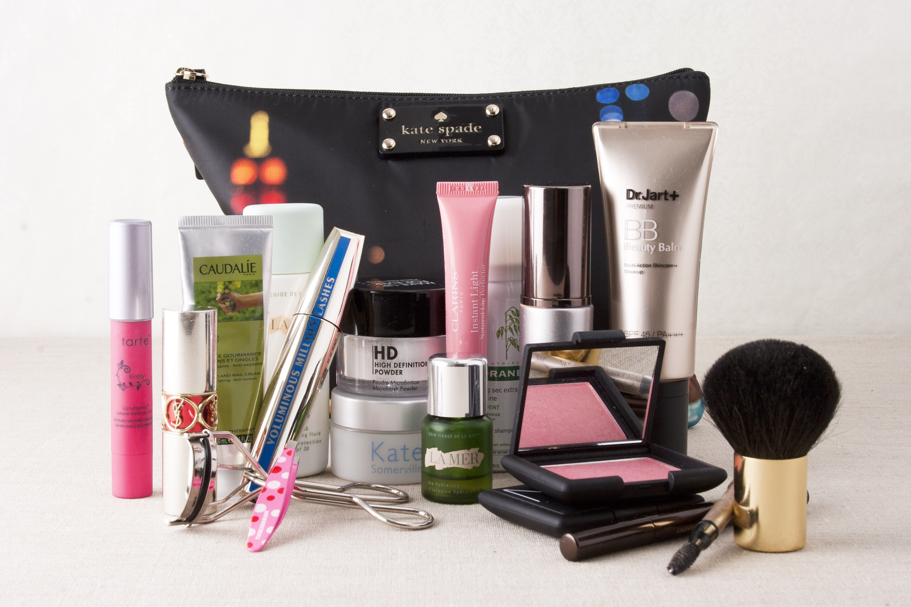 makeup bag and products