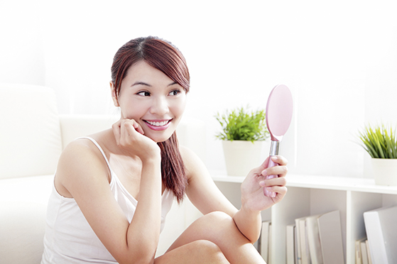 Woman caring skin and face