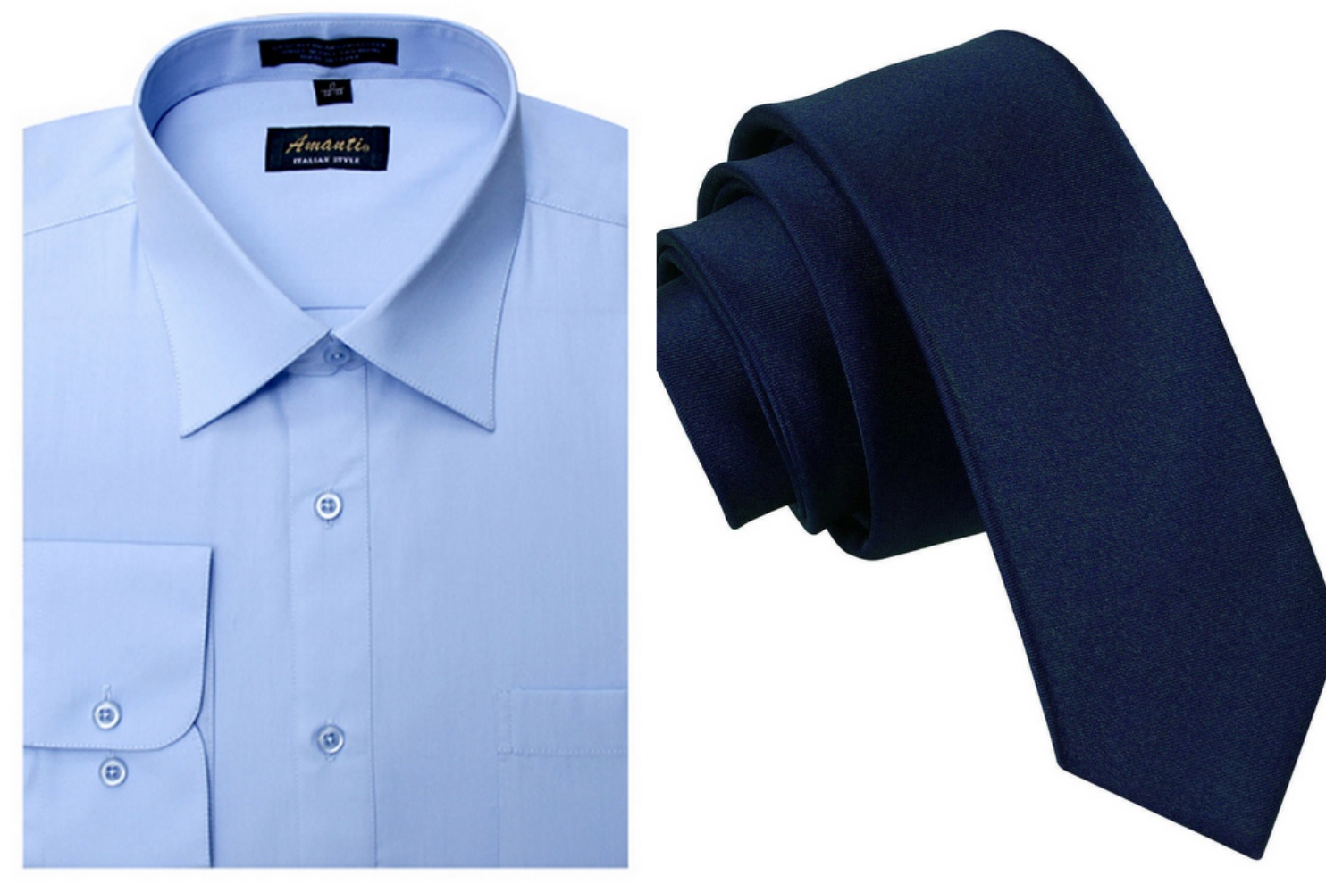 light blue shirt navy tie